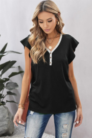 Shewin V Neck Lace Trim Short Sleeve Tee - Front cropped