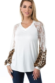 Vava by Joy Hahn V Neck Leopard & Lace Arm Top - Product Mini Image