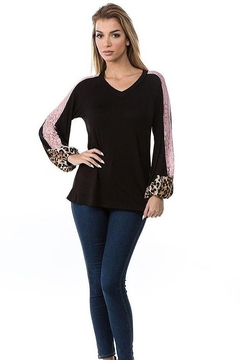 Vava by Joy Hahn V Neck Leopard & Pink Lace Arm Top - Product List Image