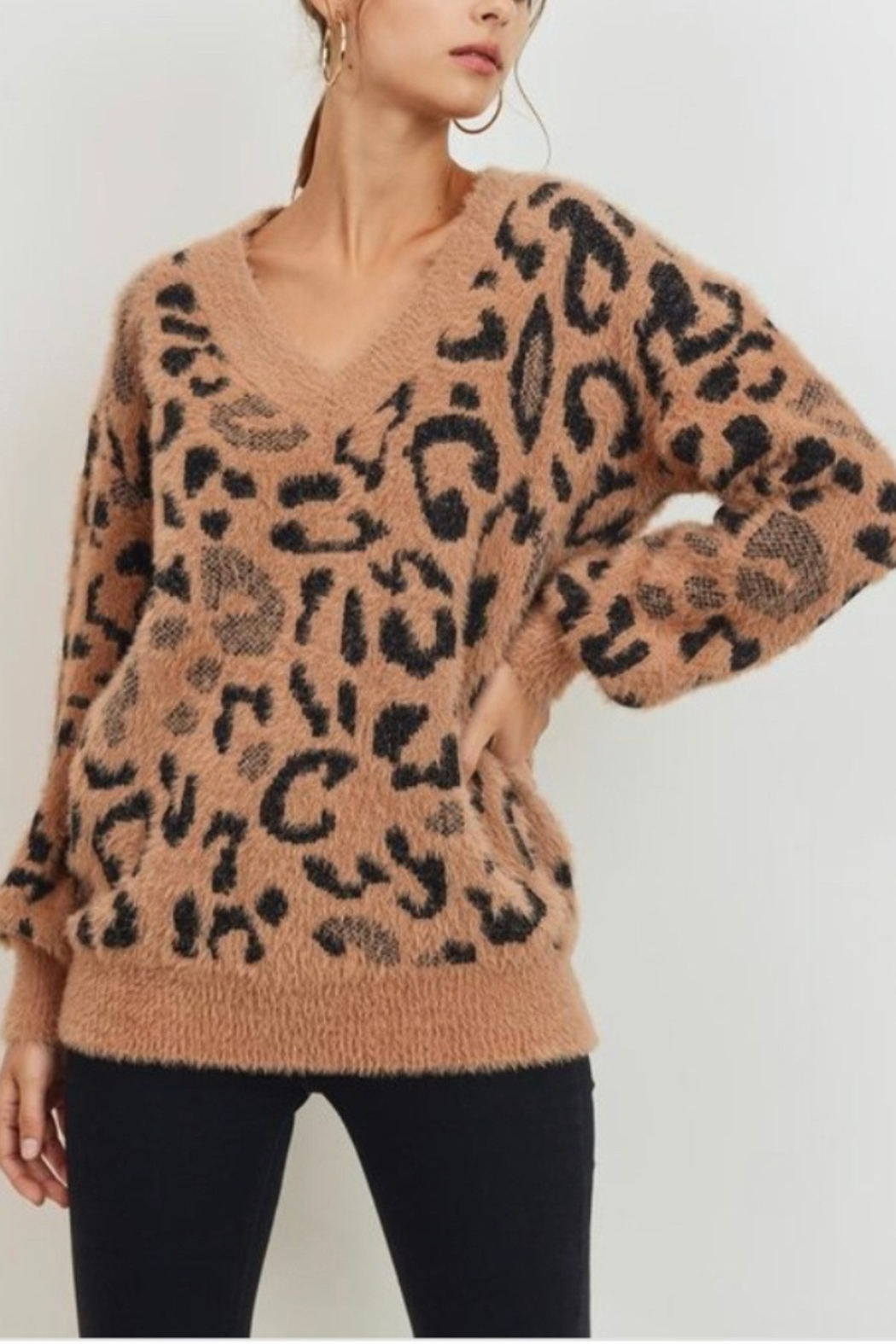 Lyn-Maree's  V Neck Leopard Sweater - Main Image