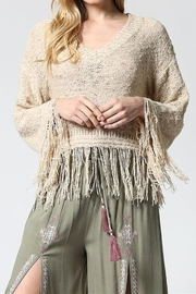 Fate V-NECK LIGHT WEIGHT SWEATER/FRINGE HEM - Product Mini Image