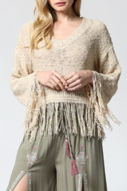 Fate V-Neck Lightweight Sweater/Fringe Hem - Product Mini Image
