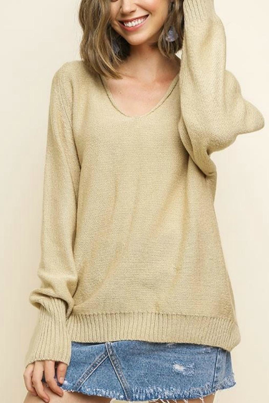 Umgee USA V-Neck Oatmeal Pullover - Front Full Image