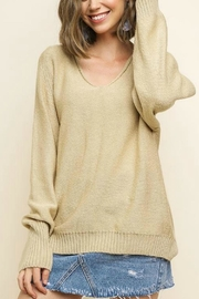 Umgee USA V-Neck Oatmeal Pullover - Front full body