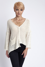 B&K moda V-Neck One Pocket Lightweight Sweater - Product Mini Image