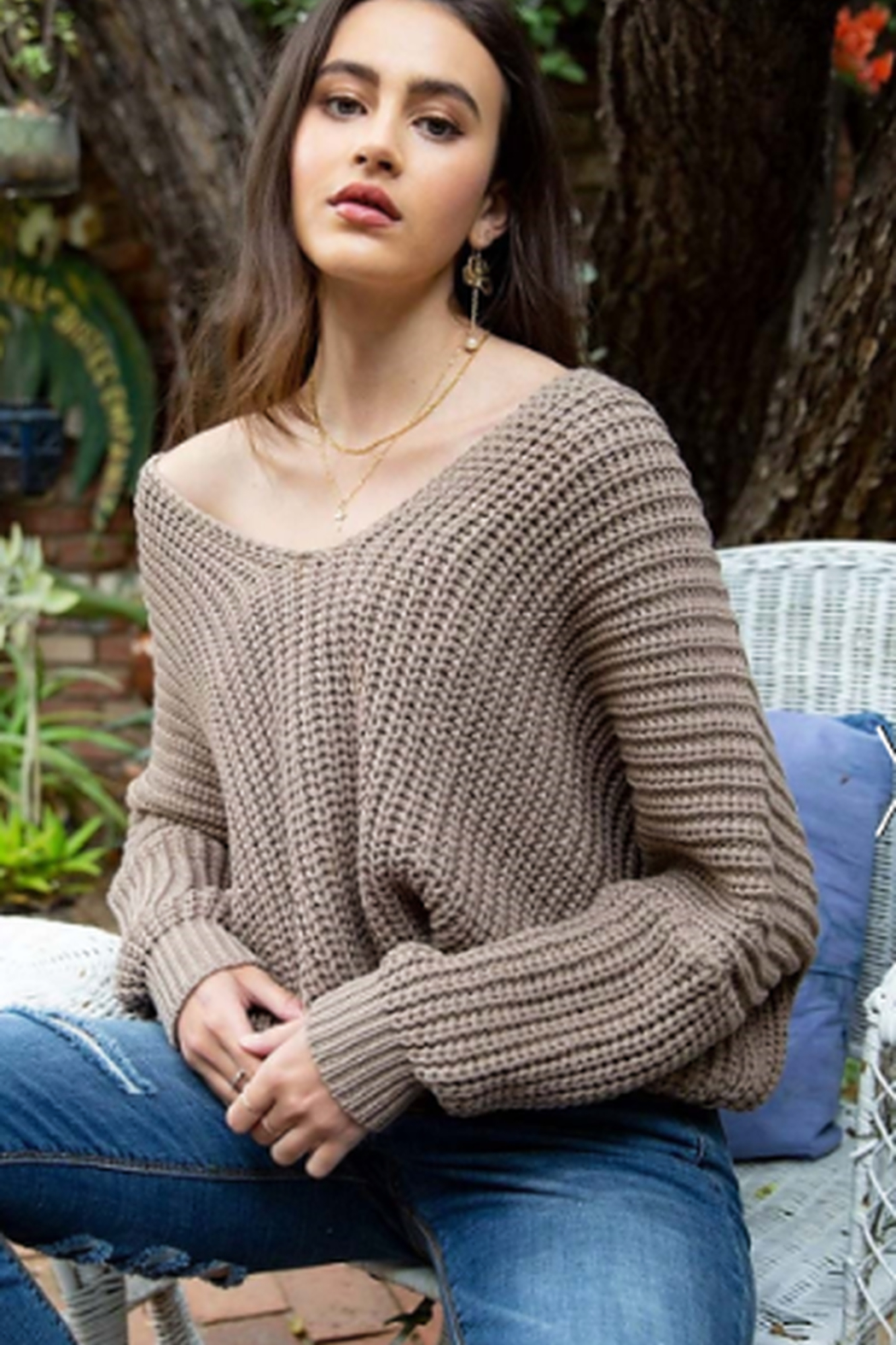 POL V-Neck Over sized Sweater - Front Cropped Image