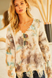 main strip  V Neck Oversized Tie Dye Sweater - Front cropped