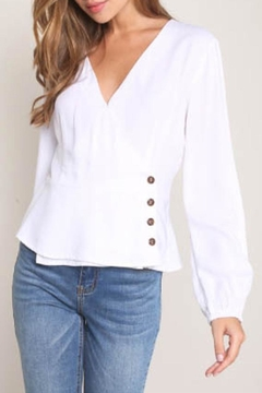 Mustard Seed V-Neck Peplum-Blouse, White - Product List Image