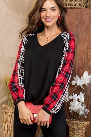 Top Style V Neck Plaid Print Long Sleeve Top - Product Mini Image