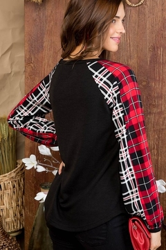Top Style V Neck Plaid Print Long Sleeve Top - Alternate List Image