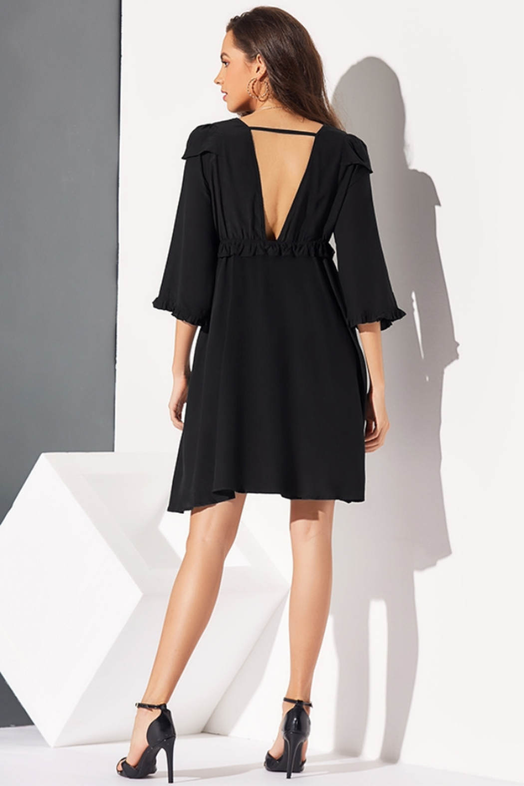 Lyn -Maree's V Neck Pleated Dress - Front Full Image