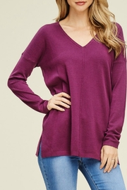 Staccato V-Neck Plum Sweater - Product Mini Image