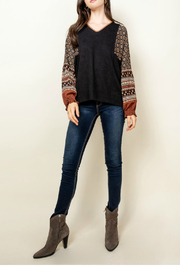 Thml V-Neck Print Sleeve Top - Front cropped