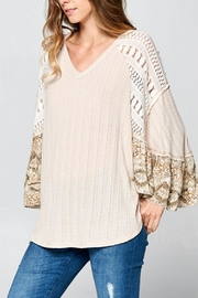 hummingbird V-Neck Printed-Sleeve Top - Product Mini Image