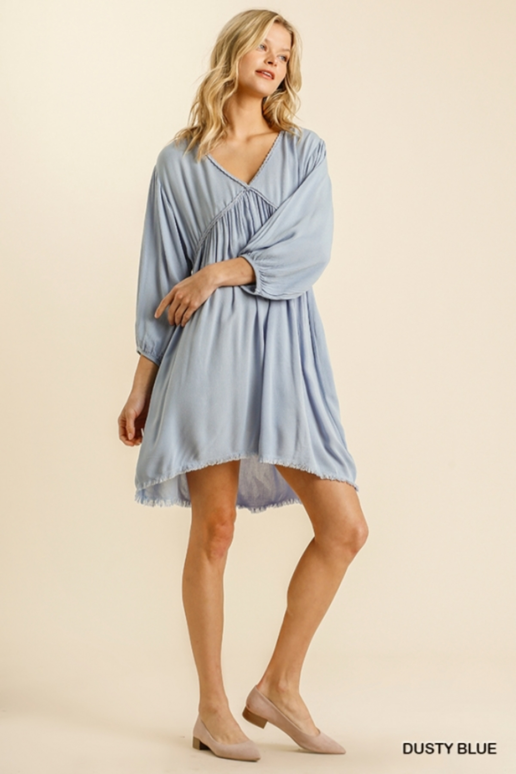 umgee  V Neck Puff Sleeve High Low Linen Dress - Front Full Image