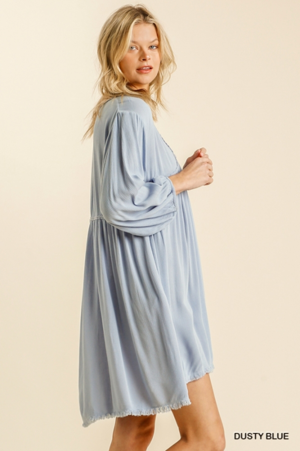umgee  V Neck Puff Sleeve High Low Linen Dress - Side Cropped Image