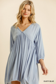 umgee  V Neck Puff Sleeve High Low Linen Dress - Front cropped
