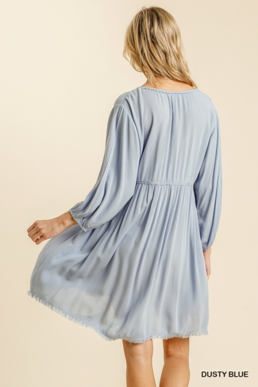 umgee  V Neck Puff Sleeve High Low Linen Dress - Back Cropped Image