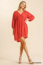 umgee  V Neck Puff Sleeve High Low Linen Dress - Front full body