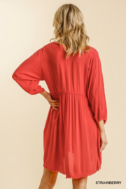 umgee  V Neck Puff Sleeve High Low Linen Dress - Back cropped