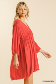umgee  V Neck Puff Sleeve High Low Linen Dress - Side cropped