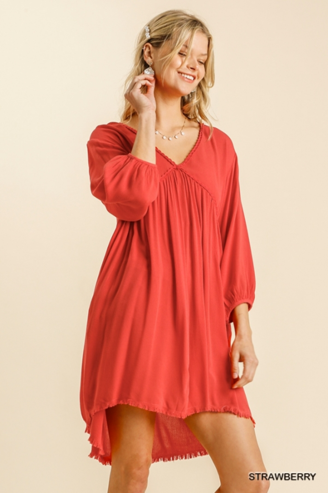 umgee  V Neck Puff Sleeve High Low Linen Dress - Front Cropped Image