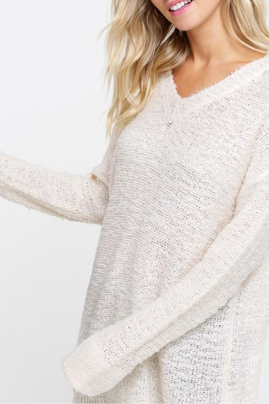 Listicle V-Neck Pullover - Front Full Image