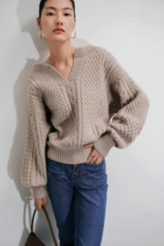 70F/21C V Neck Pullover Knitted Sweater - Product Mini Image