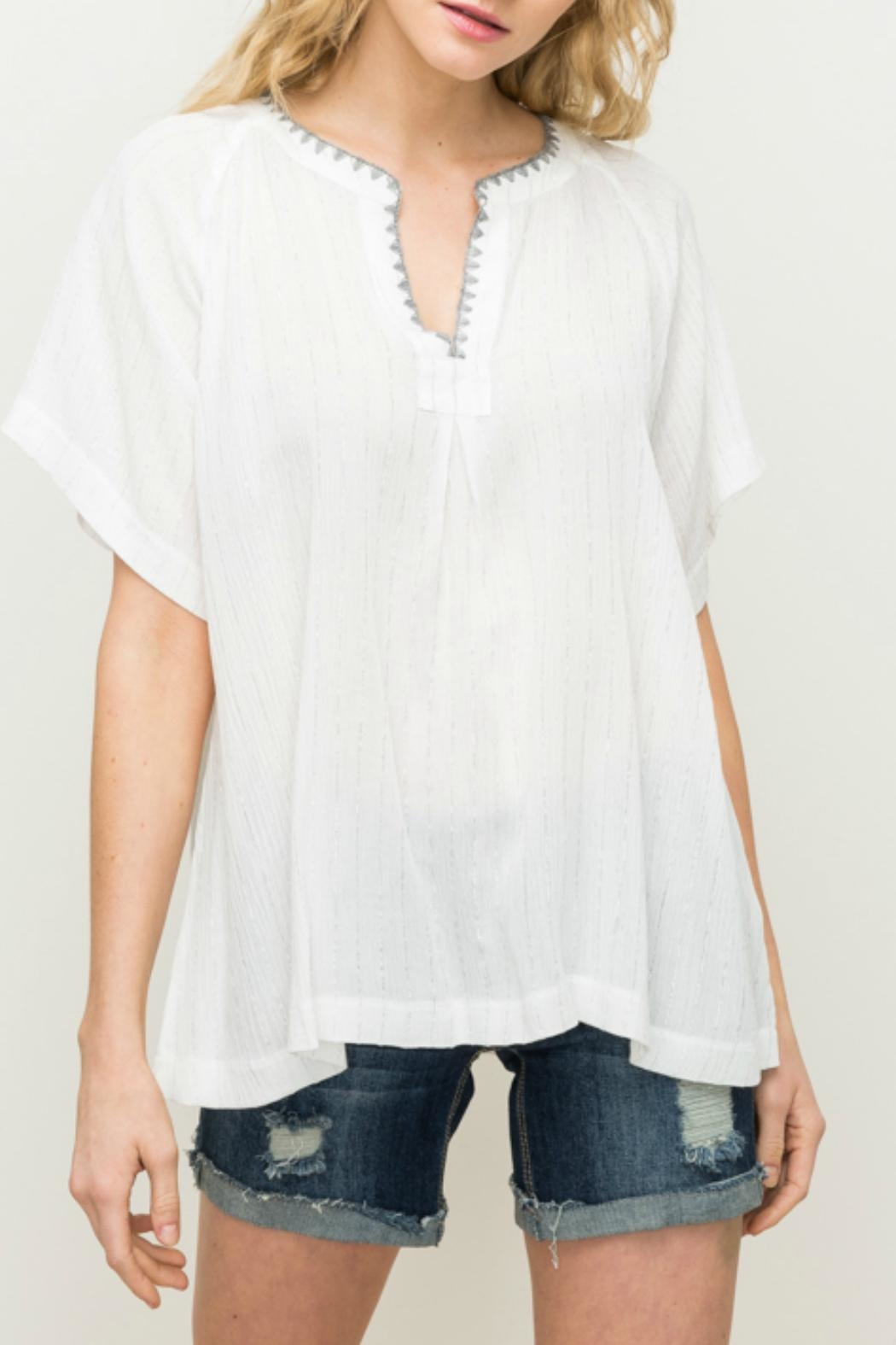 Mystree V-Neck Pullover Top - Main Image