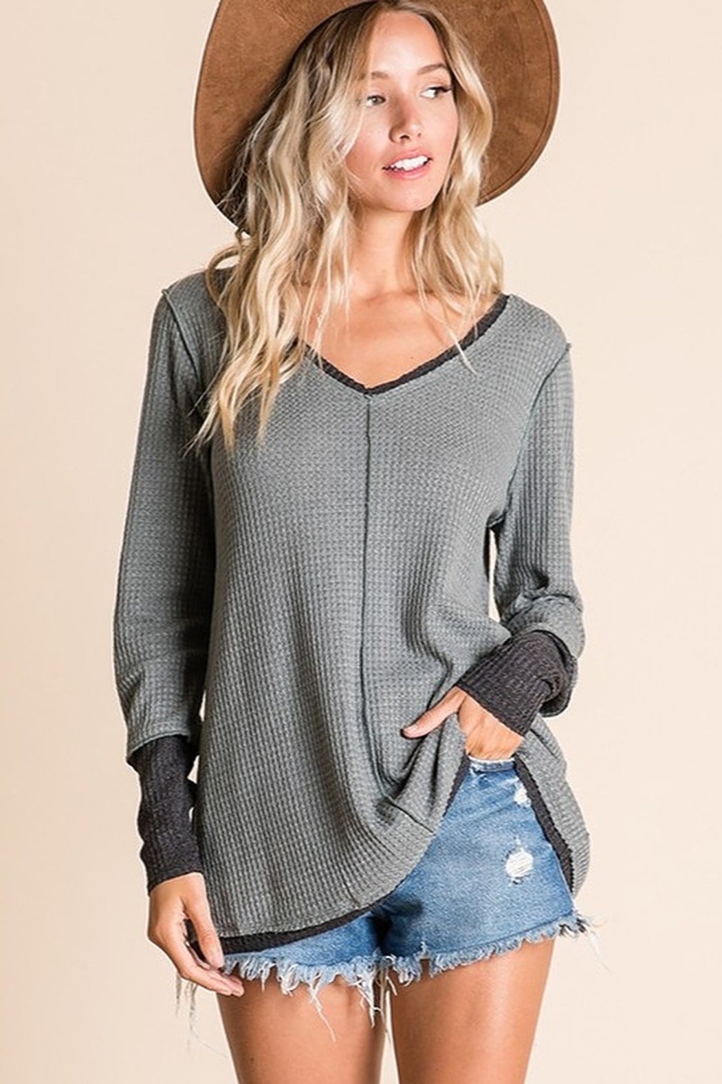 Ces Femme V Neck Raw Edge Casual Toip - Front Full Image