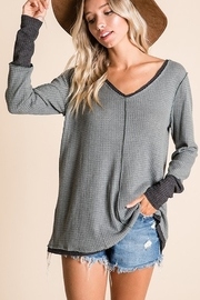 Ces Femme V Neck Raw Edge Casual Toip - Front cropped