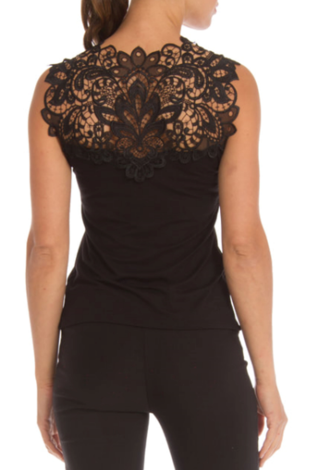 Arianne V-Neck Reversible Lace Tank - Front Full Image