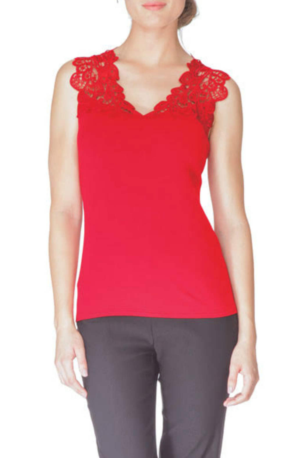 Arianne V-Neck Reversible Lace Tank - Front Cropped Image