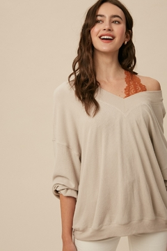 Listicle V-Neck Ribbed Top - Product List Image