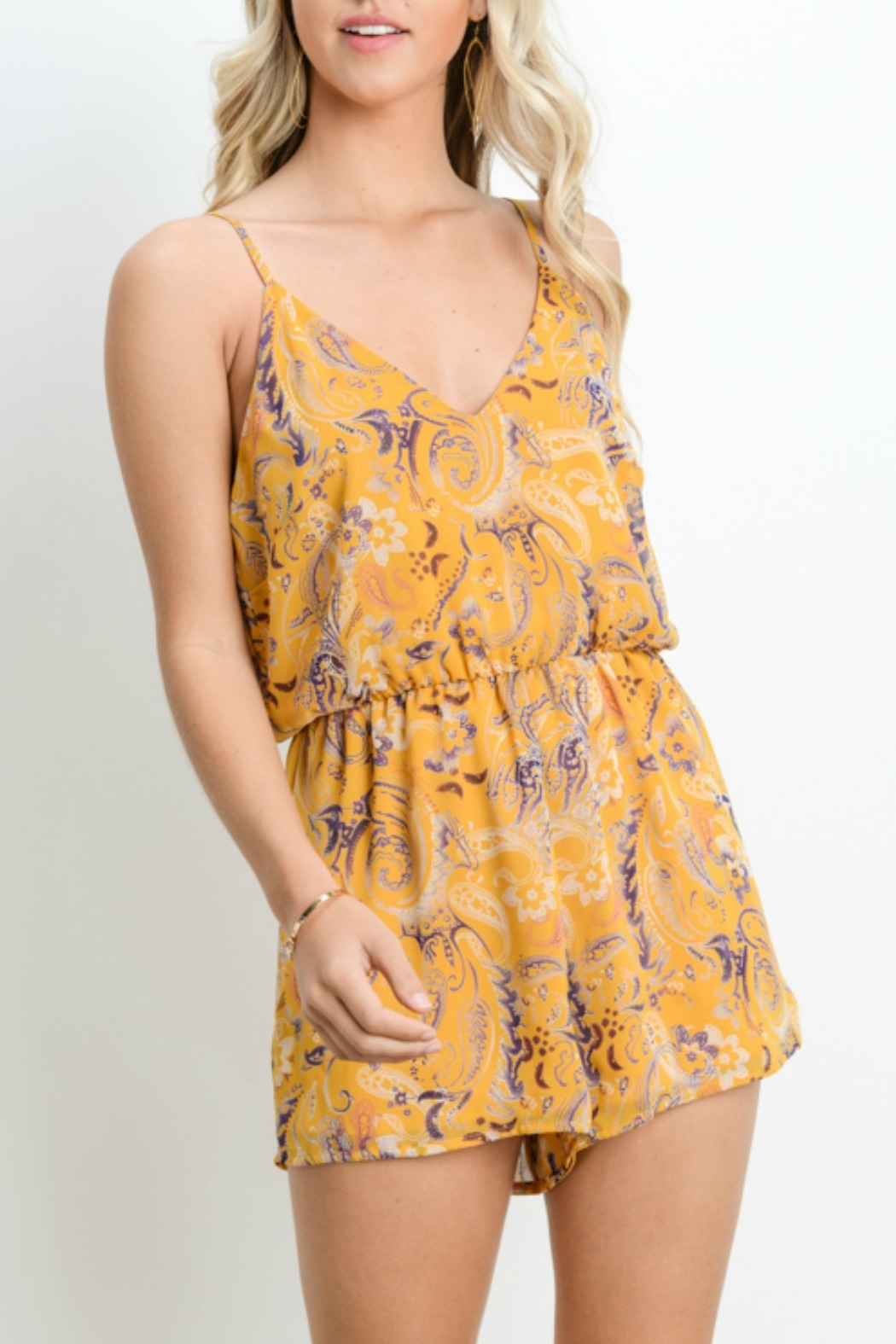 Adrienne V-Neck Romper - Front Cropped Image
