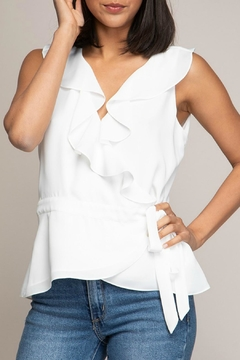 Naked Zebra V-Neck Ruffled Wrap-Top - Alternate List Image