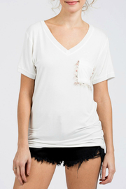 POL V-neck S/S Tee w eyelash accent pocket - Product Mini Image