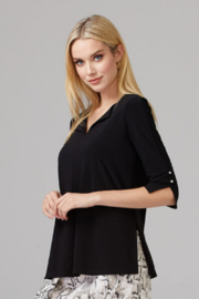 Joseph Ribkoff V-Neck & Side Slit Top with Pearl - Product Mini Image