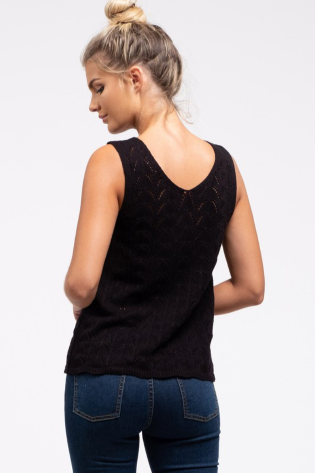 blu Pepper  V-Neck Sleeveless Sweater - Front Full Image