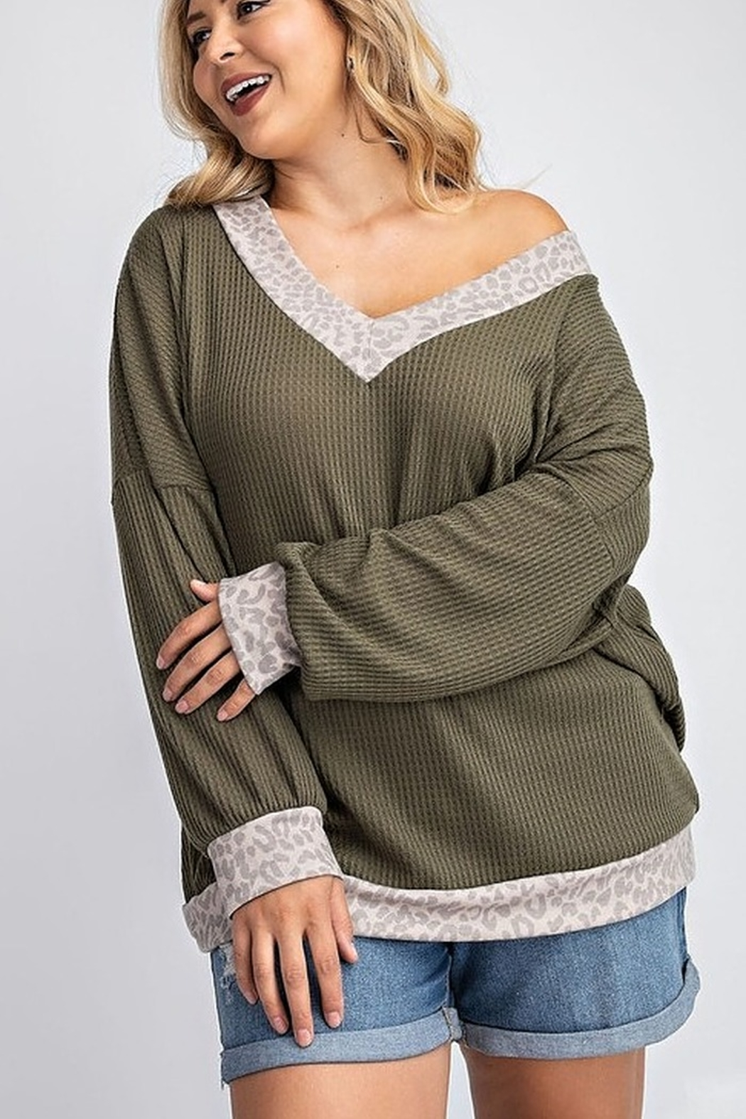 143 Story V NECK SLOUCHY WAFFLE KNIT TOP - Front Full Image