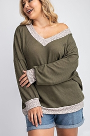 143 Story V NECK SLOUCHY WAFFLE KNIT TOP - Front full body