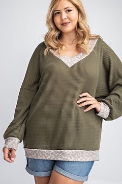 143 Story V NECK SLOUCHY WAFFLE KNIT TOP - Product List Image
