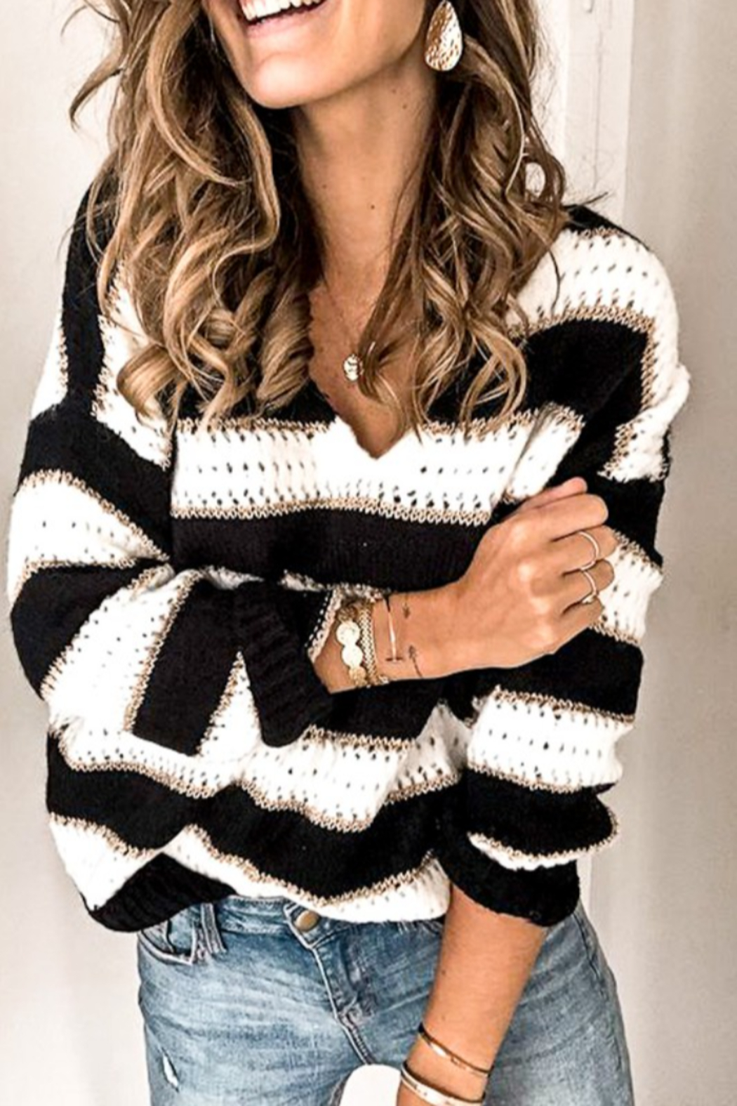 Mazik V Neck Stripe Knitted Sweater - Front Full Image