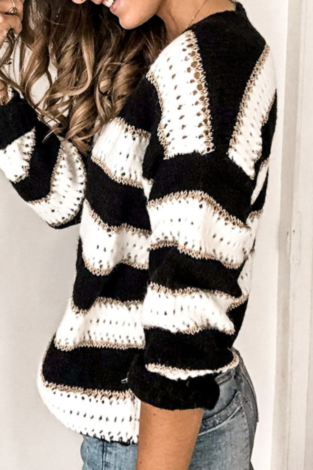 Mazik V Neck Stripe Knitted Sweater - Side Cropped Image