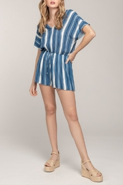 Everly V-Neck Striped Romper - Product Mini Image