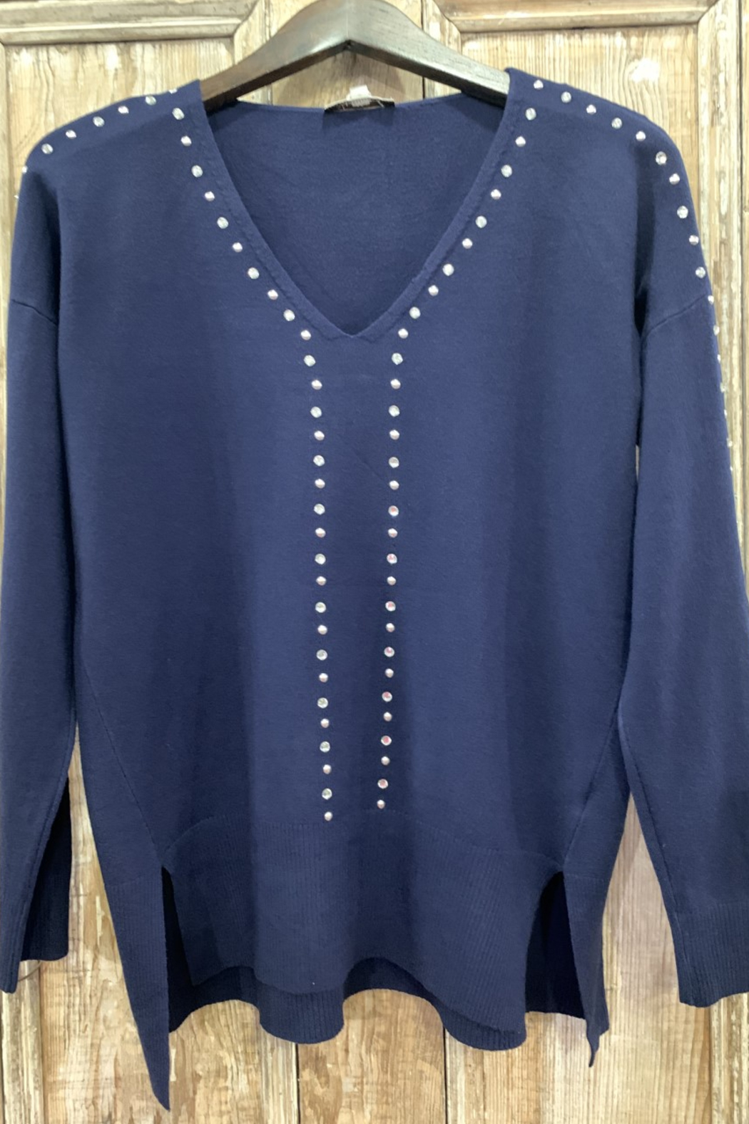 Vila Milano V-neck studded relaxed fit sweater - Main Image