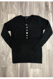 True Blue Clothing V Neck Sweater w/ Buttons - Product Mini Image