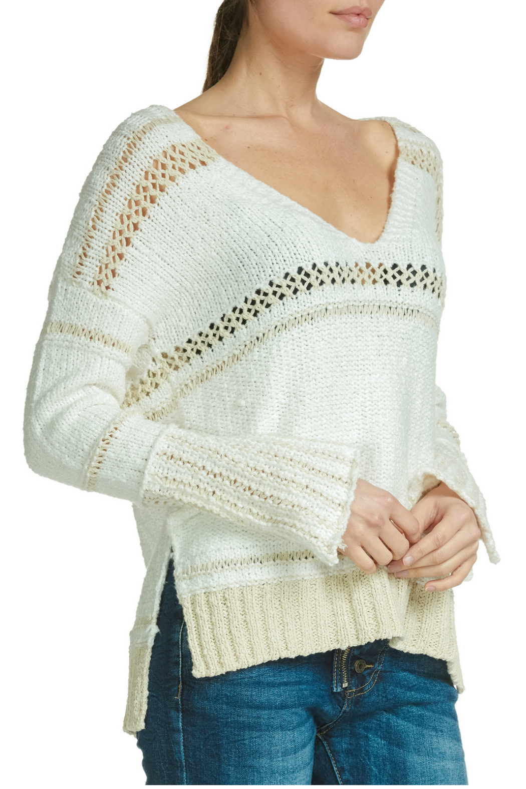 Elan V-neck sweater with crochet - Main Image