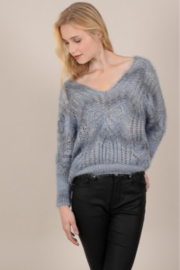 Molly Bracken V-Neck Sweater with Openwork Knit - Product Mini Image