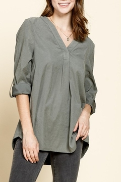 Mittoshop V-NECK TAB SLEEVE WOVEN SHIRT - Product List Image